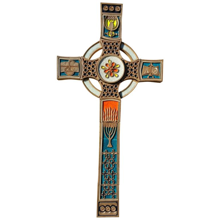 Monumental Christian Orthodox Crucifix, Pop Modernist Tile and Fused Glass