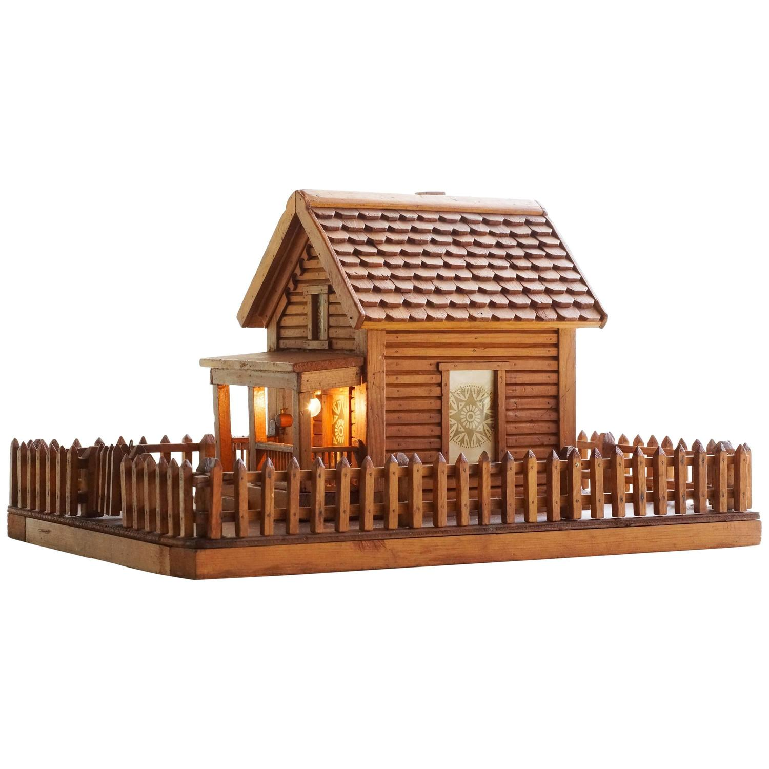 Amazing photo of American Folk Art Log Cabin Light For Sale at 1stdibs with #C07F0B color and 1500x1500 pixels