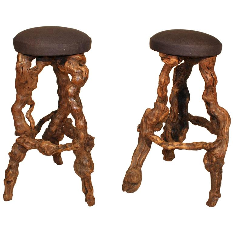 Home Styles Arts Crafts 24 In Counter Stool: Pair Of Grape Vine Bar Stools At 1stdibs