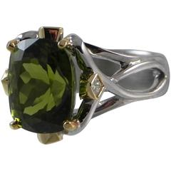 """The Volcano's Gift"" Fine Peridot and 18-Karat White Gold Ring"