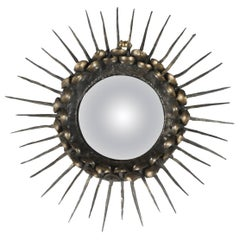 Convex Sunburst Mirror with a Frame of Spikes with Brass Nailheads