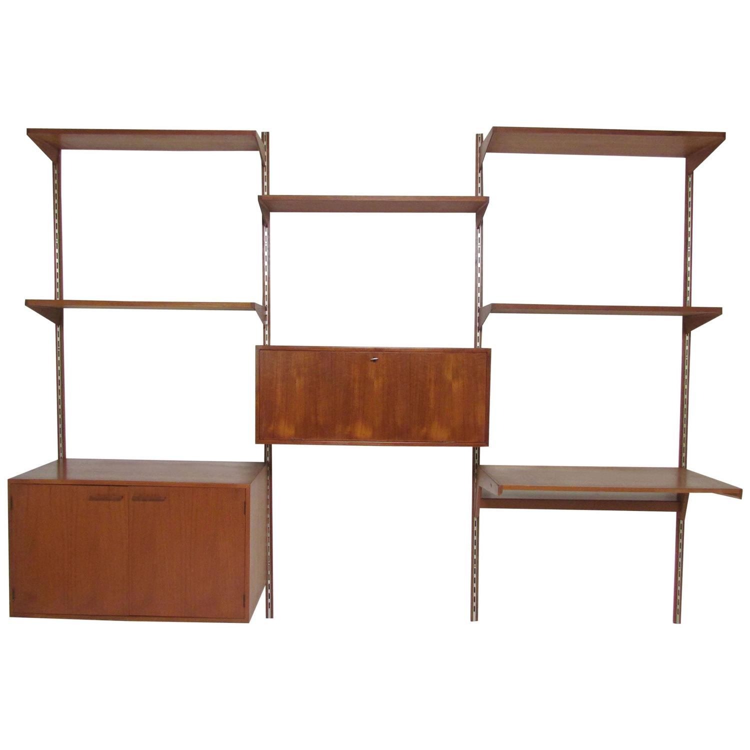 danish teak cado style wall mounted shelving unit by kai. Black Bedroom Furniture Sets. Home Design Ideas