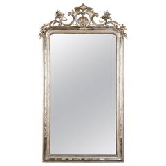 Large Silver Leaf Louis Philippe Mirror with Elaborate Crown and Beaded Edges