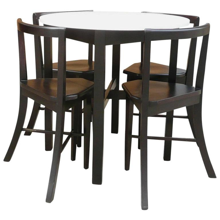Small Round Dining Table Set: Small Round Contoured Dining Set At 1stdibs