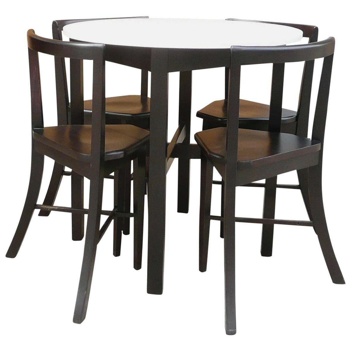 Small round contoured dining set at 1stdibs - Small space dinette sets set ...