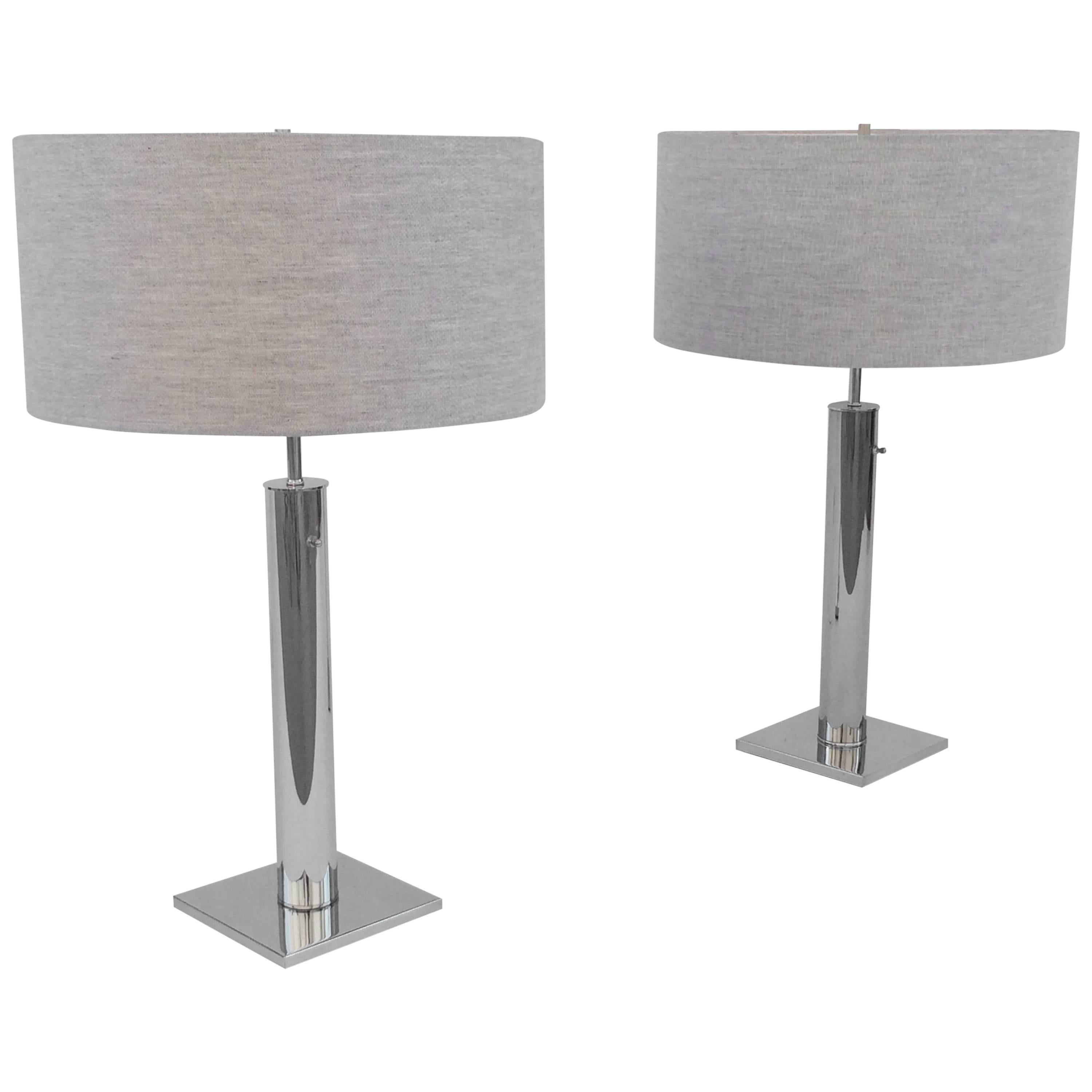 Pair of Polished Chrome Table Lamps by Nessen