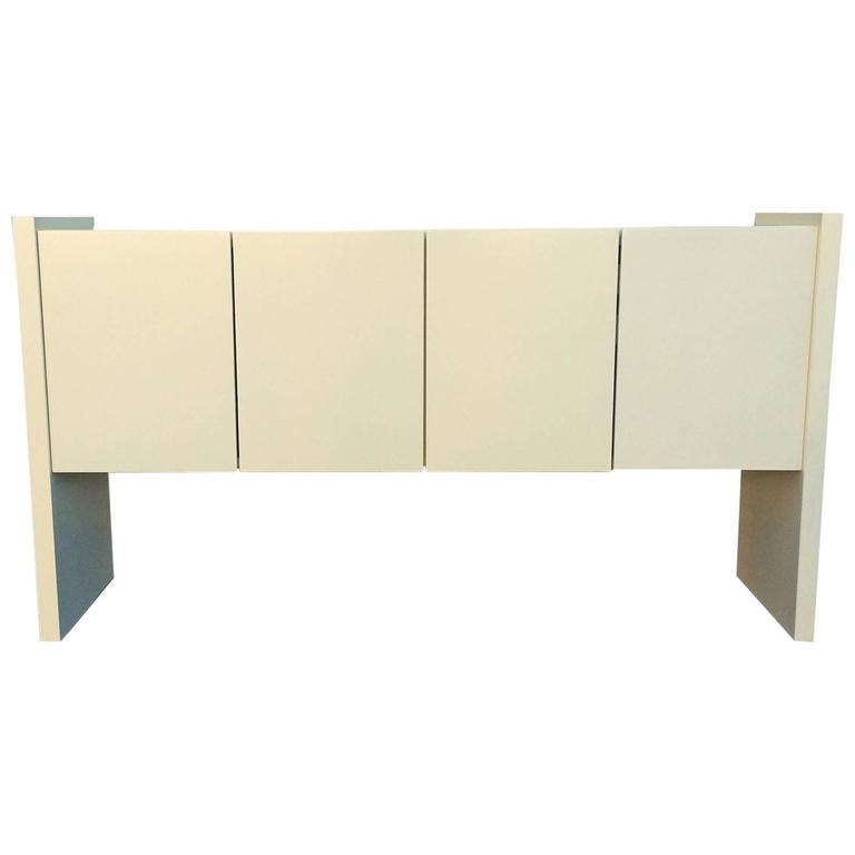 Cream Lacquered Console by Milo Baughman for Thayer Coggin