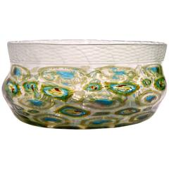 Afro Celotto Art Deco Design Glass Bowl with Peacock Murrine and Silver