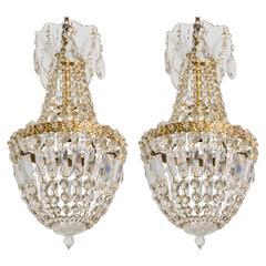 Pair of Crystal Basket Chandeliers