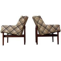Pair of Jens Risom Walnut Lounge Chairs