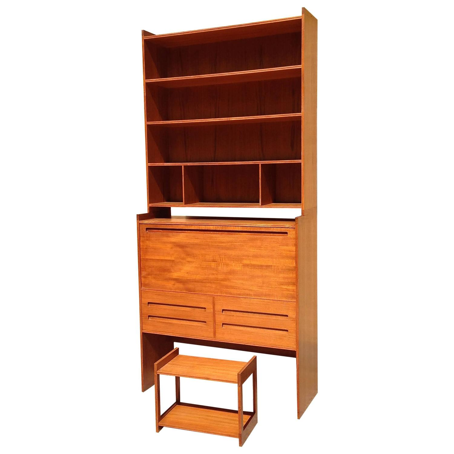 Danish Modern Teak Secretary Desk and Bookcase at 1stdibs