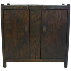 Custom Rustic Spanish Style Oak Wood Cabinet