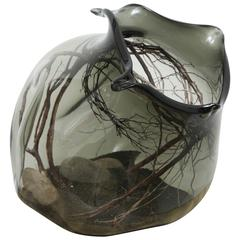 Charcol Contemporary Handblown Sculpture by Jeremy Silva