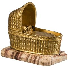 French Gilt Bronze Bassinet, circa 1875