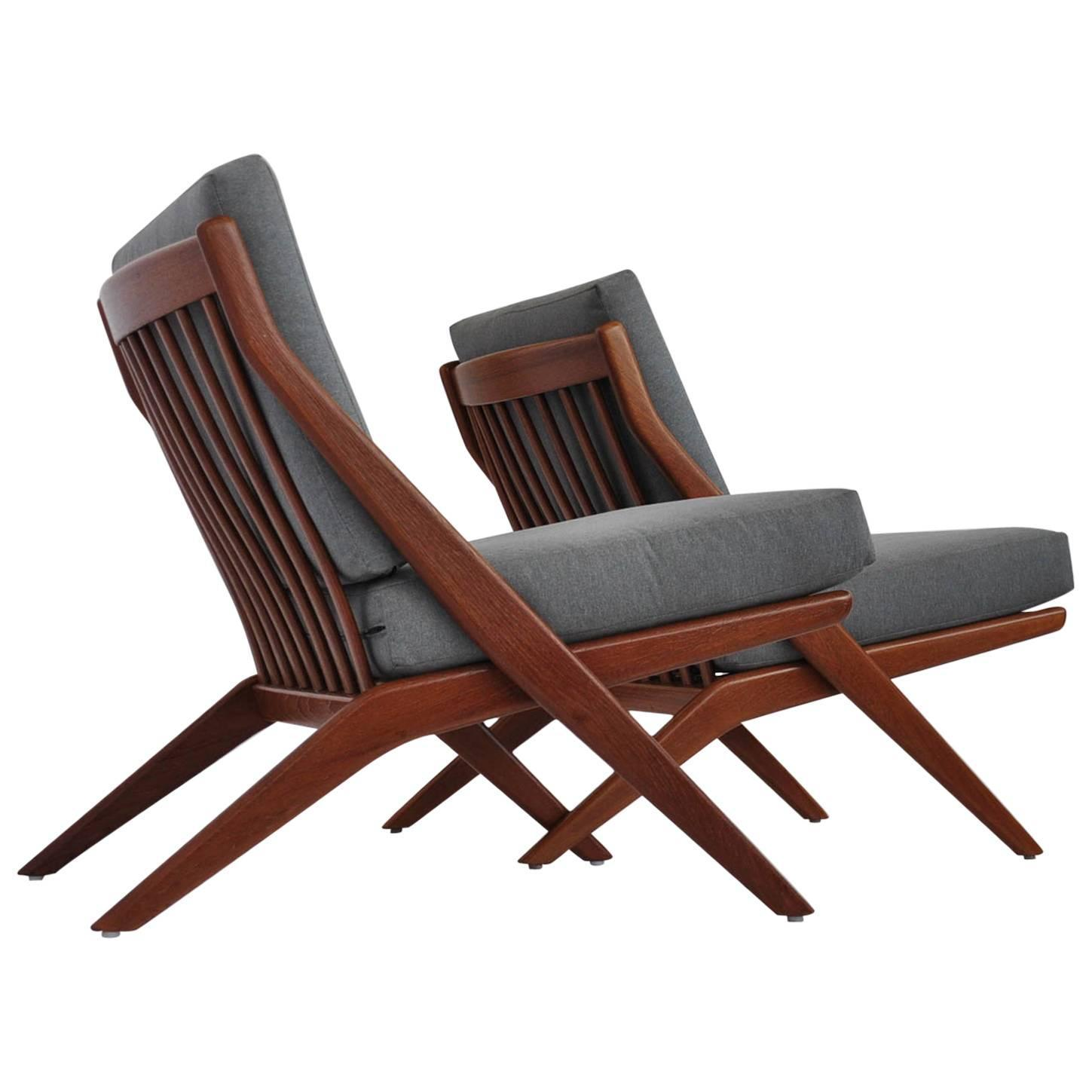 Pair of Teak Scissor Lounge Chairs by Folke Ohlsson for DUX at 1stdibs