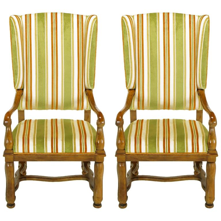 Pair of Heritage Walnut and Striped Velvet Louis XIV Wing Chairs For Sale