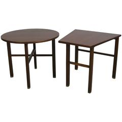 Two Mid-Century Walnut End Tables by Edward Wormley for Dunbar