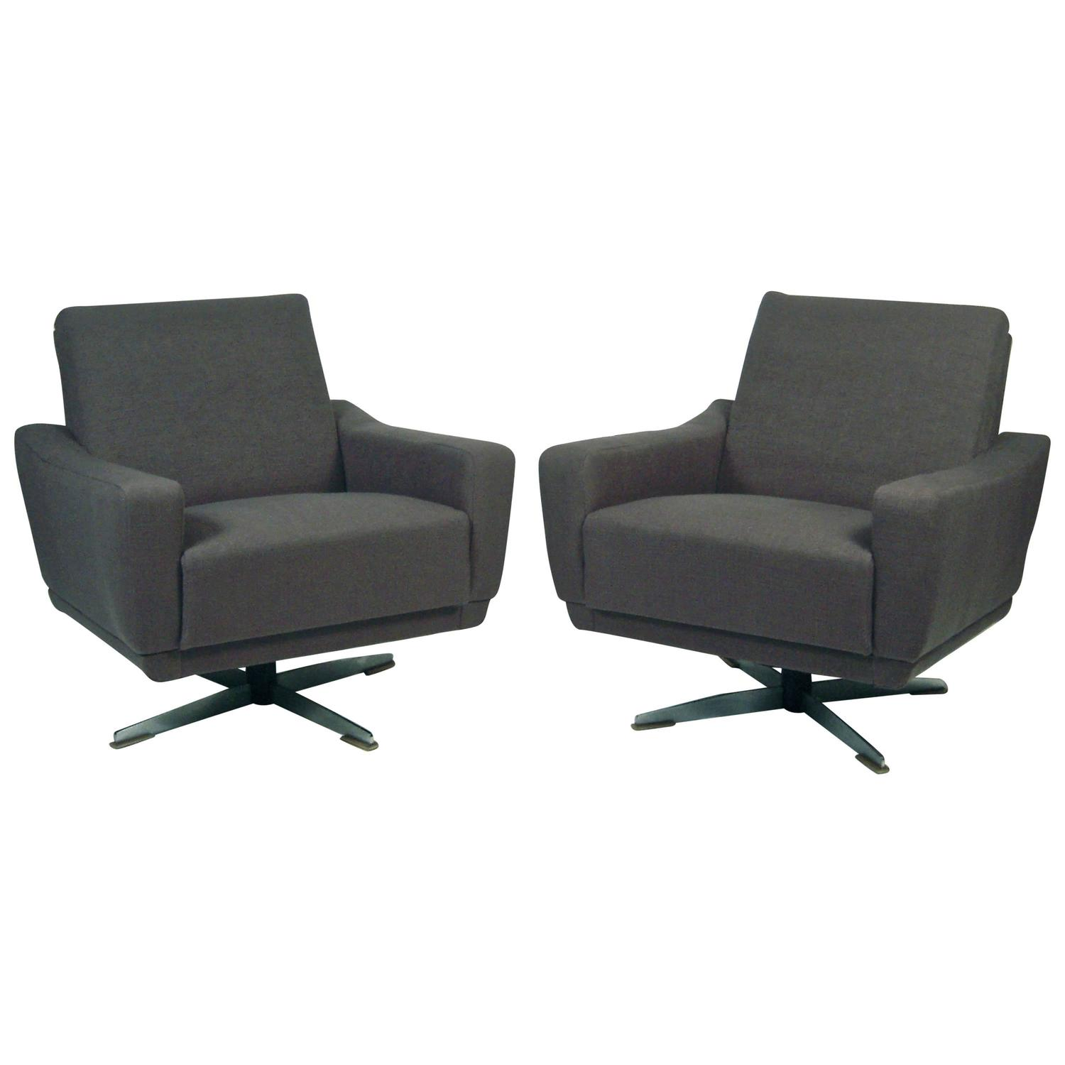 Pair of Unusual and Versatile German Mid Century Modern Swivel