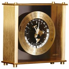 Automatic World Time Brass Desk Clock , 25 Time Zones