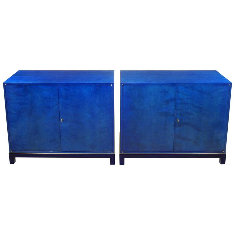 Delicieux Stunning Pair Of 1940s Baker Sideboard Cabinets In Transparent Lapis Blue  For Sale