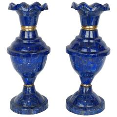 Pair of Blue Lapis Lazuli and Bronze Tall Vases with Flare Top