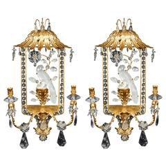 "Unusual Pair of French Art Deco ""Bagues"" Style Pagoda Shaped Wall Appliqués"