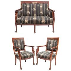 Empire Style Suite of Furniture with Swan Carved Supports