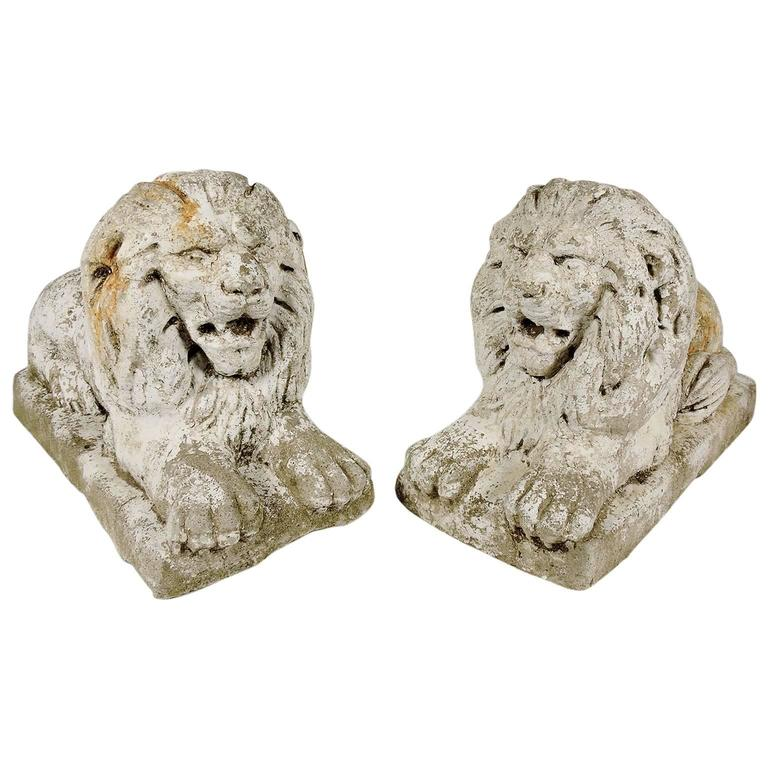 Pair of white painted cast stone recumbant lions circa for White garden rocks for sale