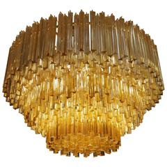 Massive Three-Tiered Tricolor Venini Chandelier