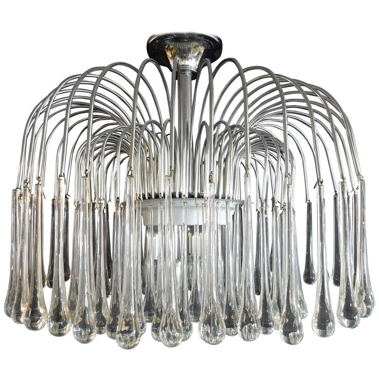 1970s, Italian Gaetano Sciolari Style Chrome Crystal Raindrop Chandelier