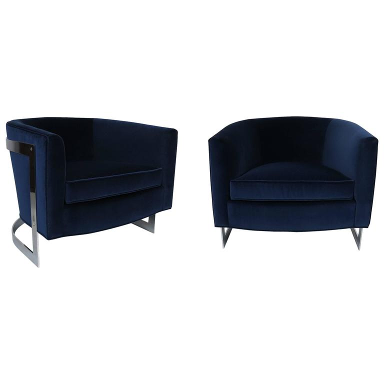 Pair Cantilevered Chrome Barrel Lounge Chairs in the style of Milo Baughman