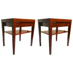 Severin Hansen Rosewood Two-Tier on Drawer Pair of Side Tables or Nightstands