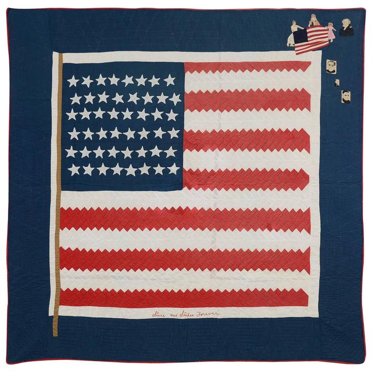 """Patriotic Quilt Titled """"Stars and Stripes"""" Forever"""