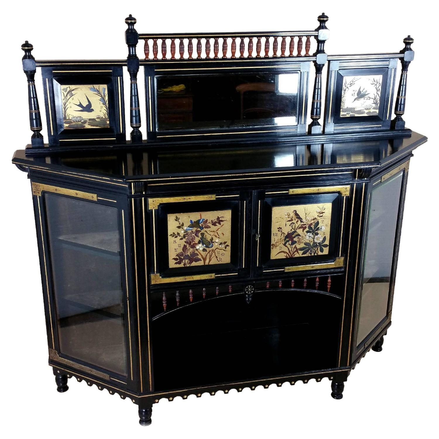 19th Century Aesthetic Movement Ebonized Side Cabinet At
