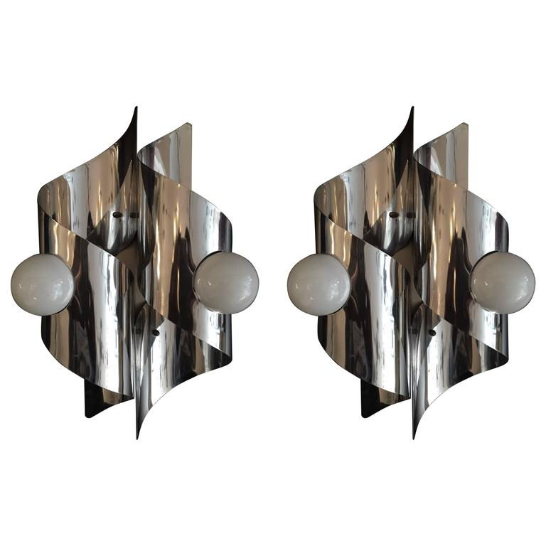 Pair of Sculptural 1960s Italian Wall Lights