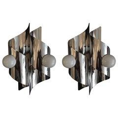 Pair of Sculptural 1960s Italian Wall Lights