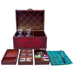 """Leather Travel Games Case"" for Cigars, Drinks and Games by Baccarat"