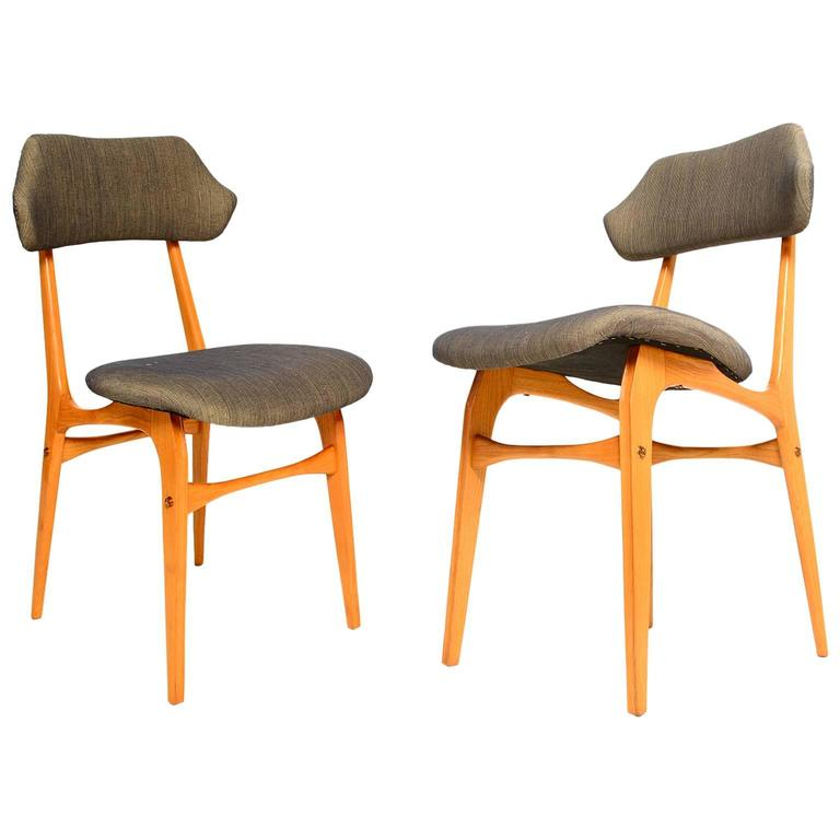 Pair Of Italian Side Chairs After Carlo Mollino For Sale At 1stdibs
