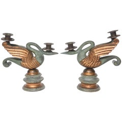 Pair of Antique Wood Carved Swan Candlesticks