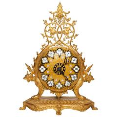 French Chinoiserie/Orientalist Champleve Enamel & Bronze Clock, F. Barbediene