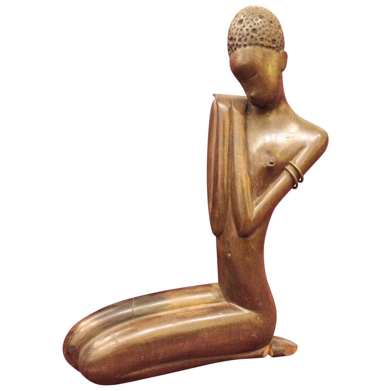 African Sculpture: Werkstatte Hagenauer African Woman Sculpture For Sale At