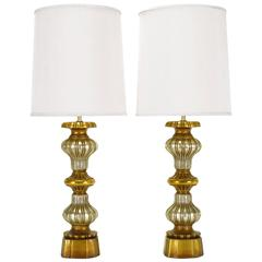 Pair of Gilt and Silver Leaf Regency Table Lamps