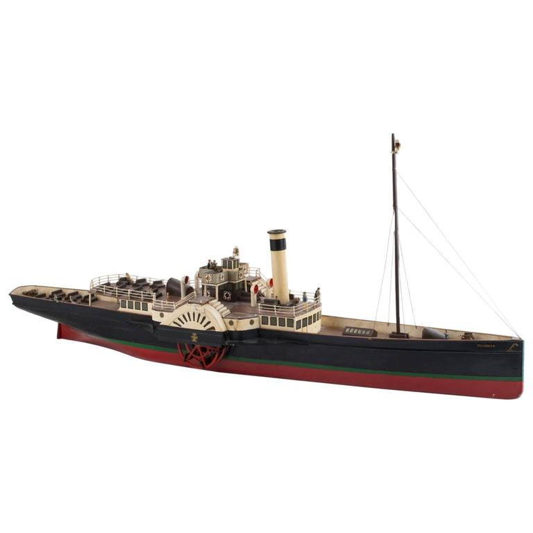 Early 20th Century Side Wheeler Model Toy Boat For Sale