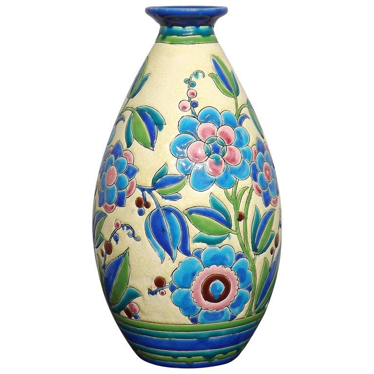 Art Deco Floral Vase By Boch Freres Keramis Charles Catteau 1920s