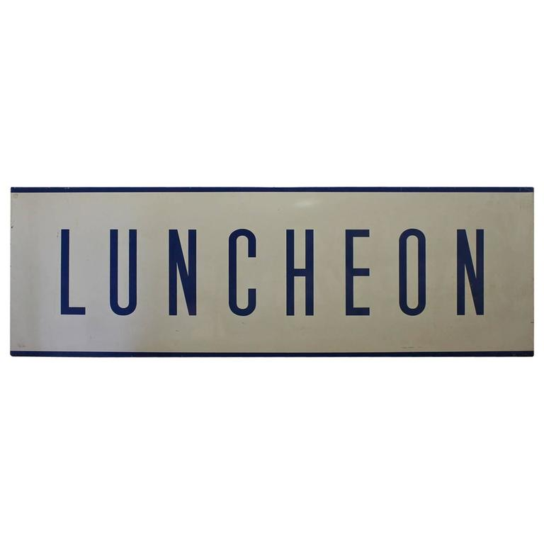 "1950s Enamel Sign ""Luncheon"""