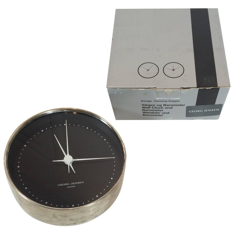 Georg Jensen Sterling Silver Wall Clock Dead Stock in Box For Sale