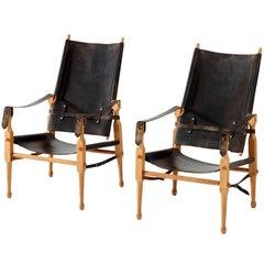 Safari Chairs in Original Black Saddle Leather, Denmark, 1960s