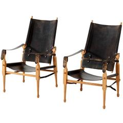 Safari Chairs in Original Black Saddle Leather, Denmark, 1960s