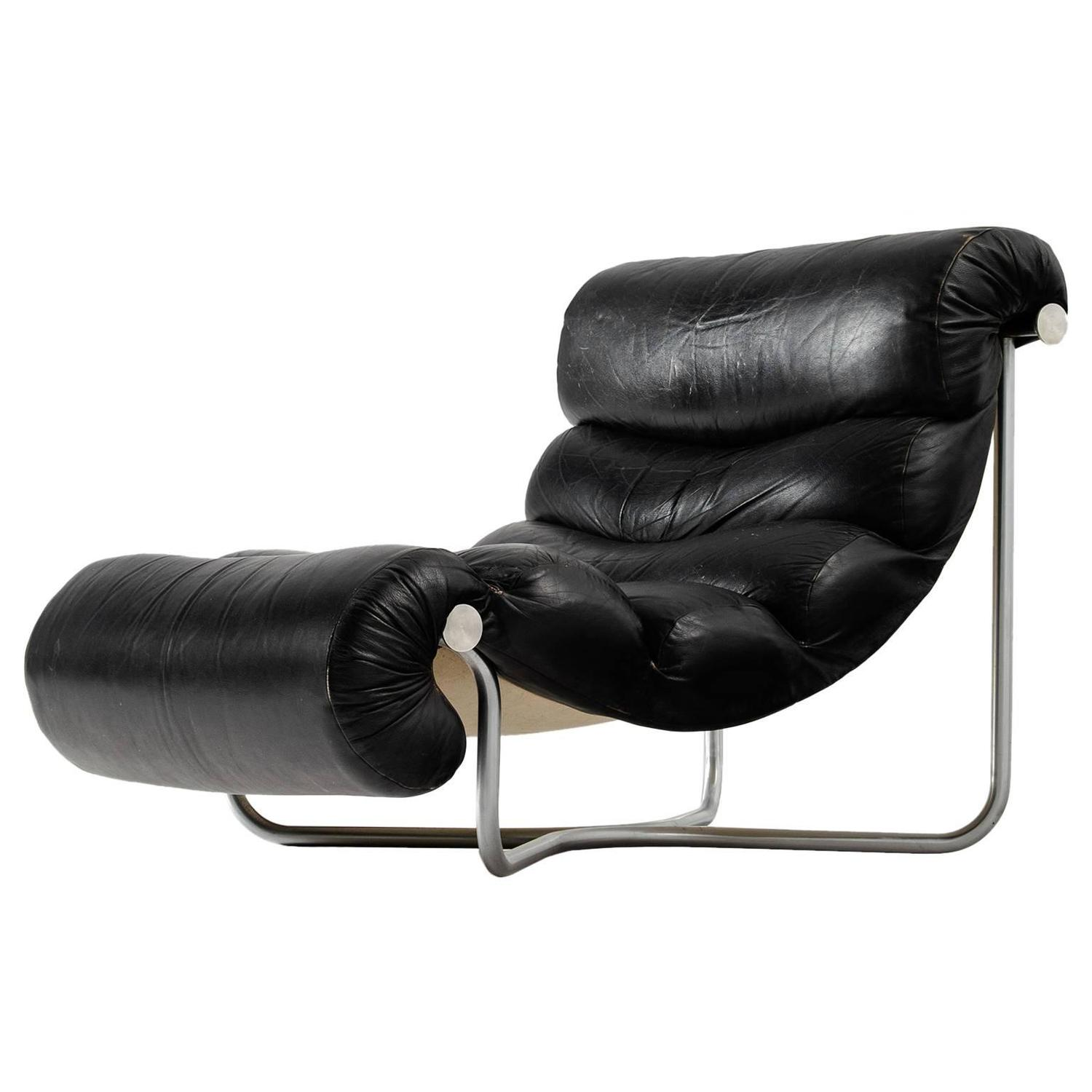 Georges Van Rijck Lounge Chair in Black Leather and Chrome