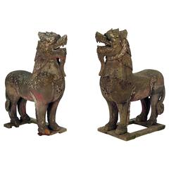 "45"" Pair of Wood Palace Lions S.E. Asia Weathered with Mica Eyes, circa 1850"